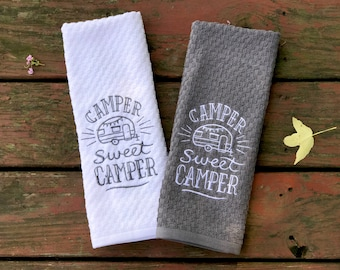 Camper Sweet Camper - Camping Towel - RV Towel - Camper Towel - Kitchen Towel - Gifts for Men - Gifts for Him - Gifts for Her