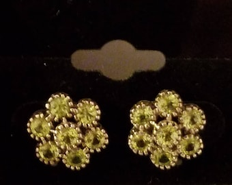 E028 Vintage Sterling Silver Earrings with Peridots