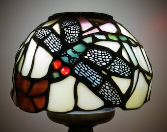 Stained Glass Dragonfly Candle Lamp