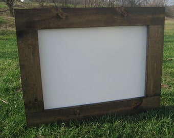 Rustic dry erase board dark walnut white board farmhouse office home kids playroom wedding event organization