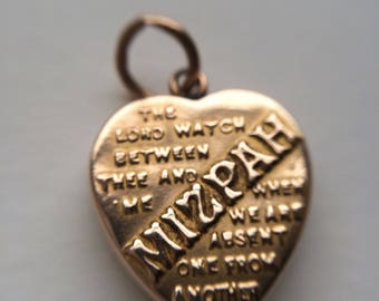 Mizpa pendant etsy victorian gold mizpah pendant heart locket charm 9ct yellow gold miniature aloadofball Choice Image