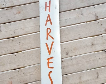 Harvest engraved wood sign, fall decor, porch, front door, white, orange, farmhouse, distressed, rustic, cottage, Autumn, seasonal