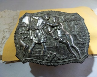 Vintage Trinket Box Velvet Lined, Footed: Lovers in the Woods Repousse Style #C230