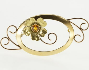 14K Citrine Inset Floral Design Oval Swirl Accent Pin/Brooch Yellow Gold