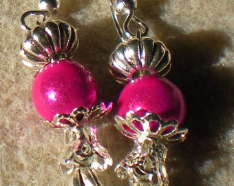 EARRINGS * ball with Bell fuschia * silver backed