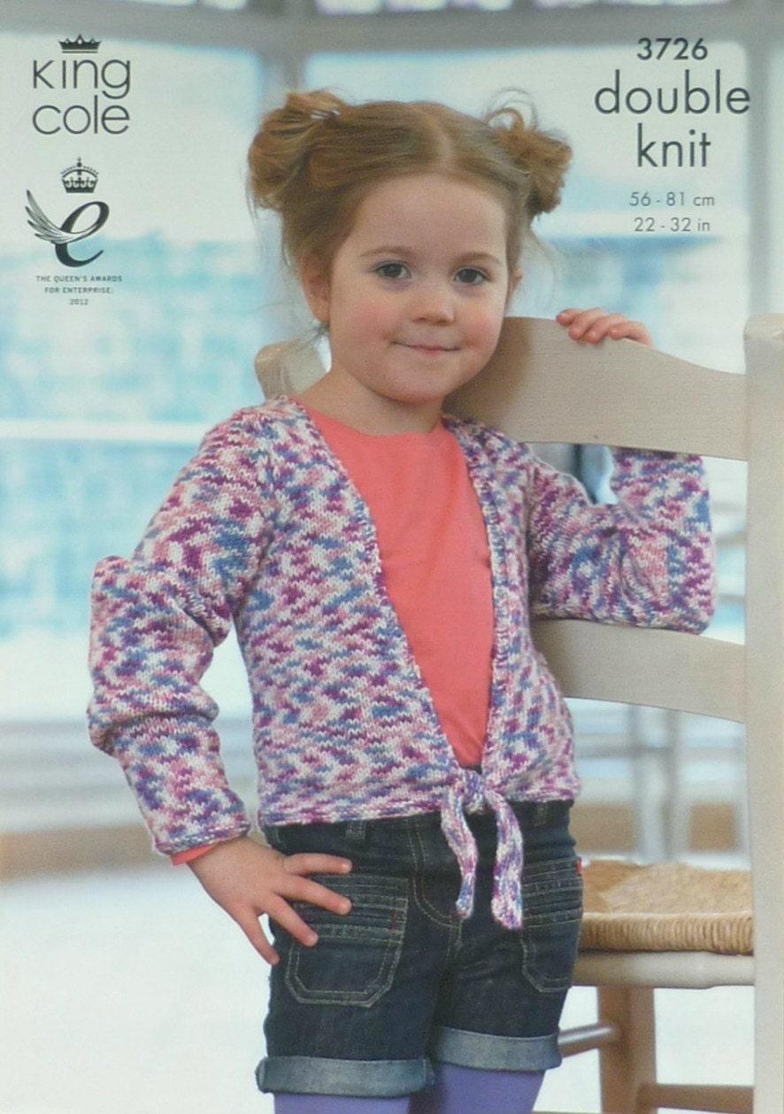 Girls Knitting Pattern K3726 Childrens Easy Knit Long Sleeve Tie ...