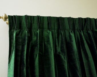 Green Colored Silk Drapes in Rich Raw Silk / Dupioni Silk