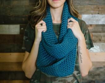 chunky infinity scarf infinity scarf blue scarf women's scarves winter warm wool scarf teal scarf