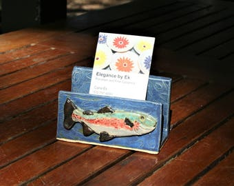 Brown Trout business card or post it note holder in stoneware with textured river background. Ek Creations Design.