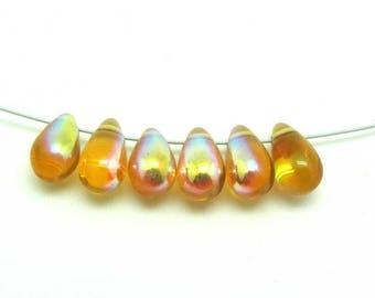 Lot 10 Bohemian amber AB drops - 9 * 6 mm