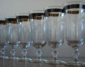 Six Vintage Footed Silver Banded Glasses - Champagne/ Parfait Glasses - Hollywood Regency - Modern - Bridal Toast
