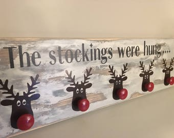 """Free Ship Canada & USA - Rustic Distressed on reclaimed Barn Board - Reindeer Rudolph Sign Stocking Hanger holder 7.5"""" X 24"""" holder mantel"""