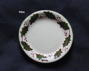 """RARE 3"""" Cash Family Coaster HOLLY 3.25"""" Butter Pat Handpainted (Buy 1 or 2) Erwin Tennessee (B11) 9964 9965"""