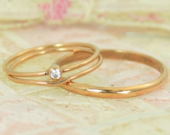 Tiny Diamond Ring Set, Solid 14k Rose Gold Wedding Set, Diamond Stacking Ring, Gold Diamond Ring, April Birthstone, Bridal Set, Diamond