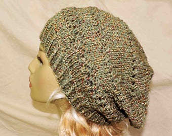 Green Copper and Gold Hand Knit Unisex Slouchy Beanie