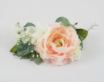 wedding hair clip, eucalyptus crown, bridal hair clip, floral hair clip, ranunculus hair clip, bridal headband, bridal headpiece