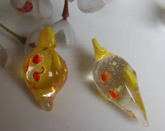 set of 2 Lampwork Glass Beads