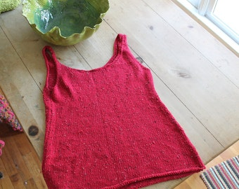 red knitted tank