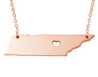 Rose Gold TN State Necklace,Tennessee State Necklace,State Shaped Necklace,Personalized Tennessee State Necklace With A Heart