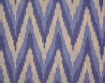 Light Blue And White Cotton Ikat Fabric