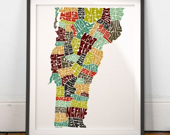 Vermont typography map, Vermont map art, Vermont art print, Vermont poster print, Vermont gift idea, hand drawn state typography series