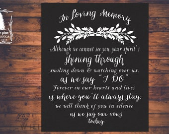 PRINTABLE Wedding MEMORIAL Sign,  In Loving Memory, Remembrance Sign, Winter wedding, In Loving Memory wedding sign, black and white
