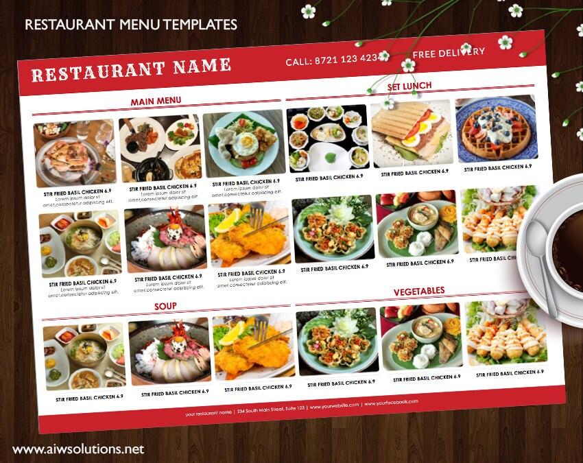 Plantilla de menú la barra menú bricolaje elegantes menús