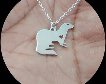Ferret Necklace - Engrave Pendant - Sterling Silver Jewelry - Gold Jewelry - Rose Gold Jewelry - Personalized Pet Jewelry - Animal Charm