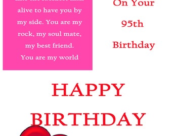One I Love 95 Birthday Card with removable laminate