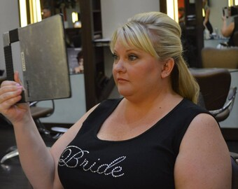 PLUS SIZE Bride Tank Top with Rhinestone Crystals for the Engagement Party, Plus size Wedding Day tank top, Honeymoon tank top, plus size
