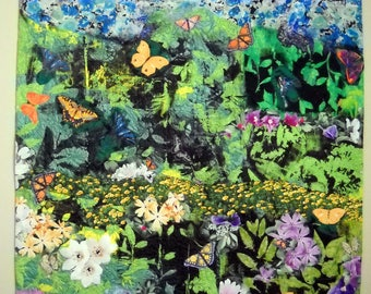 Wall Hanging Art Quilt What Butterflies See  Green Gold Orange Lavender Purple White Blue Lilies Greenery Butterflies