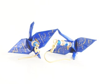 Small Blue Origami Crane Earrings with Swarovski Crystal bicones featuring Gold Love Kanji Jewelry