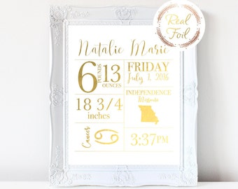 Custom Baby Print Gold Foiled Print Gift For Her For New Mother Wall Art Baby Gift Nursery Decor Baby Stats New Mom Gift Personalize