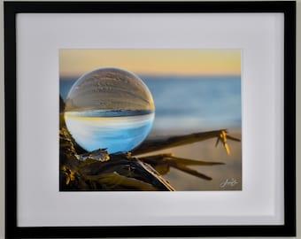 Beach Photography, Sphere Photography, Coastal Art, New Jersey shore, Beach Sunrise, Beach Decor, Ocean, Summer Home Decor, Blue