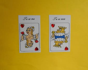 Set of 2 magnets, King and Queen of hearts
