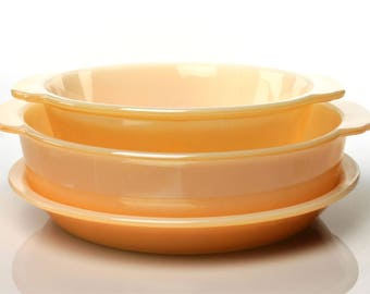 Fire King Copper Tint/Peach Lustre 3 Piece Bakeware Set