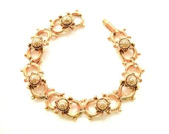 Vintage FLORENZA Victorian Revival Golden Links Bracelet