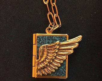 Winged Peace Book-aquamarine and gold