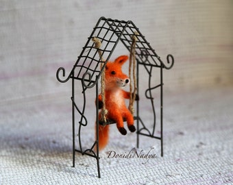 Miniature fox needle felted OOAK doll. Miniature fox. Felted animals.