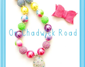Easter Sparkle Egg Chunky Bead Necklace