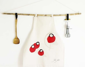 Natural linen canvas apron with round pocket 'Bollekes' embroidered womens apron, gift for woman, kitchenware, elegant kitchen apron