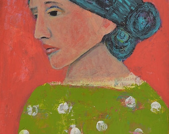 Virginia Woolf Original Acrylic Portrait Figure Painting. Green & Pink. White Polka Dots. Literature Painting