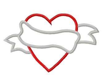 Valentines Banner Heart Embroidery Applique Design