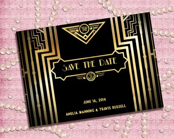 Great Gatsby Style Art Deco Save the Date Card - 1920's, 20's Style - Printable DIY