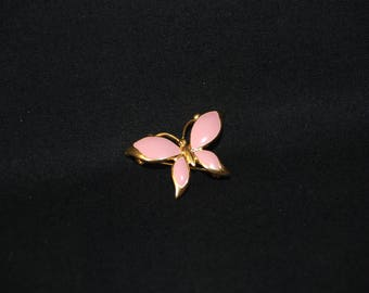 Pink Butterfly brooch - vintage enamel gold tone metal brooch pin - butterfly jewelry - insect brooch sweater scarf hat pin - gift for her