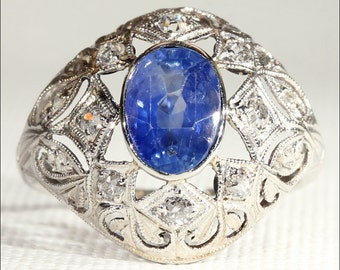 Antique Edwardian Sapphire and Diamond Dome Ring - VIDEO