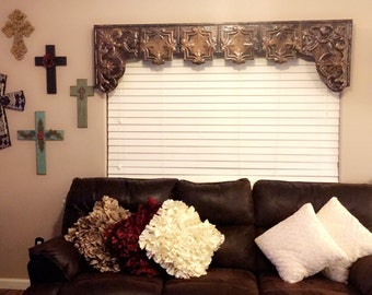 "Custom tin window cornice with arched sides 49""-60"" >>LOCAL PICKUP ONLY<< customer must pick up from Celeveland, Tx"