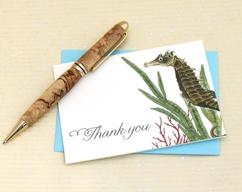 Seahorse Thank You Notes - Set of 8 with Envelopes