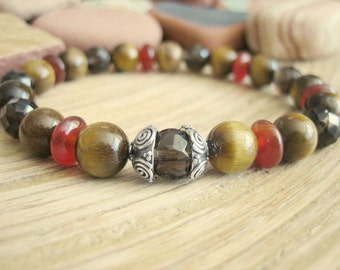 Celtic Bracelet - Tigers Eye Beaded Bracelet, Silver, Carnelian, Smoky Quartz  Prayer Beads for Yoga, Empowerment, Confidence, Success