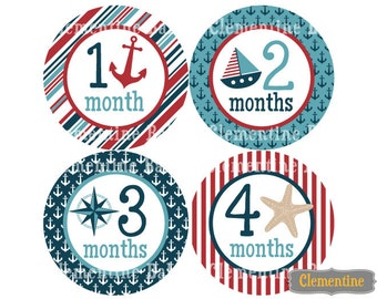 Monthly Baby Stickers, nautical baby month stickers, monthly baby stickers - nautical boy